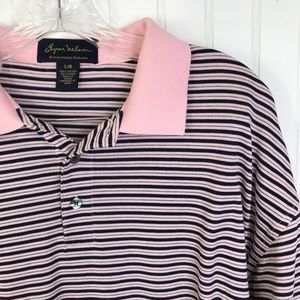 BYRON NELSON Polo Shirt Men's L Striped Pink Blue